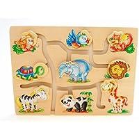 Childrens Kids木製一致頭の動物ゲームパズルおもちゃEducational Fun