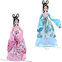 Fenteer 2個セット 家装飾 飾り 置物 中国古代衣装人形ドール あもちゃ ジョイントビニールボディードール