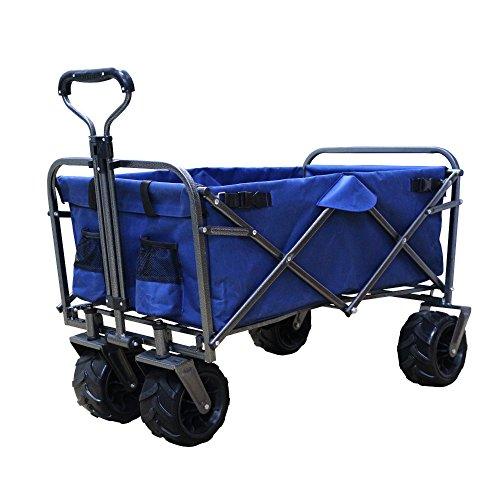 DABADA(ダバダ) キャリーカート 耐荷重150kg 容量95L アウトドアワゴン 折りたたみ 軽量 大型タイヤ 4輪 (Navy)