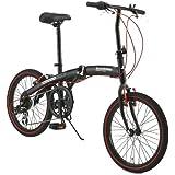 WACHSEN(ヴァクセン) 20インチ 折りたたみ自転車【軽量アルミフレーム】 シマノ6段変速 高速52Tチェーンホイ…
