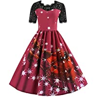 Heyean A-Line Dress for Women, Fashion Dresses, Christmas Dress Plus Size, Women's Dress Christmas Printed Lace Round Neck Short Sleeve Slim Fit Large Swing Dress for Xmas Festival Party Wedding