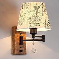 寝室のベッドサイドディミングウォールランプソリッドウッド/ステンレススチールベーススイッチの読書灯と多色布のシェード (色 : B)