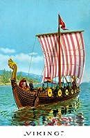 1893Viking Ship Art ~古代のレプリカGokstad Ship ~ 6パック新しいマットヴィンテージ画像Large空白ノートカード封筒付き