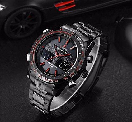 【 ミリタリー 】 NAVIFORCE デザイン 腕時計 30m 防水 黒 ブラック 赤 レット