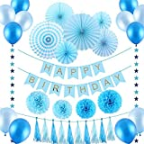 VEYLIN 35 PCS Blue Boys Birthday Party Decoration Set for Baby Shower,Includes Paper Fans,Balloons,Happy Birthday Banner,Paper Tassels,Tissue Paper Pompoms and Star Garland [並行輸入品]