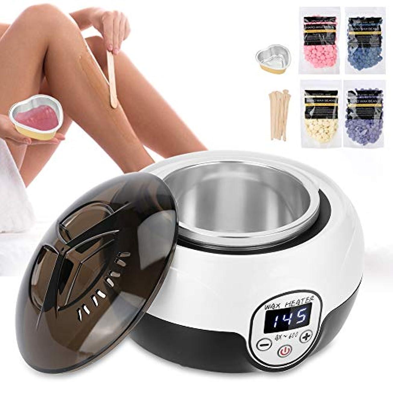 ワックスウォーマー脱毛キット、温度調節可能なデジタルディスプレイ画面ワックス加熱付き電気脱毛ワックスヒーターマシン(米国)