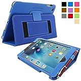 英国Snugg社製 Apple iPad Mini 4 用 レザーケース - スタンド機能・生涯補償付き (エレクトリックブルー)