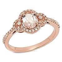 10Kローズゴールド楕円形カットモルガナイト&ラウンドカットホワイトダイヤモンドレディースブライダルヘイロー婚約リング