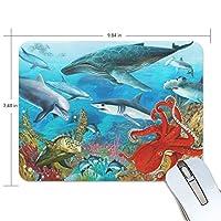 マウスパッド サメ イルカ タコ カメ ゲーミングマウスパッド 滑り止め 19 X 25 厚い 耐久性に優れ おしゃれ