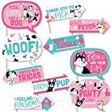 ファニー Pawty Like a Puppy Girl - ピンク 犬 ベビーシャワー 誕生日パーティー 写真ブース 小道具キット - 10ピース