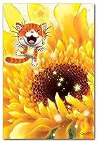 笑顔を届けるイラストレーション・猫作家Megポストカード 「ひまわり」
