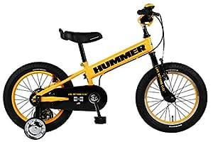 HUMMER(ハマー) 子ども用自転車 16インチ KID'S16 FAT-BIKE  極太タイヤ 補助輪付き 手持ち付サドル/HUMMERベル/チェーンケース標準装備  サドル高48cm~59cm/適応身長105cm~115cm/12.5kg】 イエロー  13357-0799