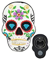White Day of The Dead Sugar Skull Magnetic Bottle Opener Refrigerator Decor by Gifts & Decor