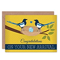 NEW ARRIVAL BABY MAGPIES ART GREETINGS GREETING CARD GIFT 赤ちゃん挨拶贈り物