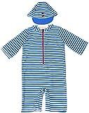 【Babystity】 子供 ベビー 男の子 ボーダー柄水着 帽子 2点セット (100cm-110cm) KR-SWI035