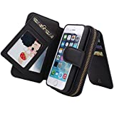 STONG iPhone 5/5S対応ケース PUレザー 大容量 手提げ 手帳型 多機能 小銭 財布 カード入れ コインケース 札 収納 衝撃防止 ブラック