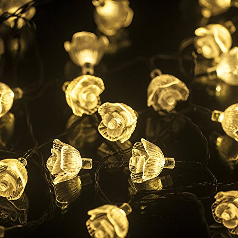 LEAZEAL イルミネーションライト ガーデンライト 30LED led ソーラー充電式 結婚式 クリスマス  屋外 防水 全長5m 光センサー内蔵  DIY (ウォームホワイト)