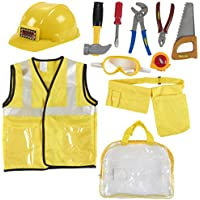 Kids Role Play Costume Set - 10-Piece Construction Worker Costume for Kids, Builder Dress Up Kit with Hard Hat, Tool Belt, Vest, and Other Accessories for Pretend Play, Halloween Dress Up, School Play