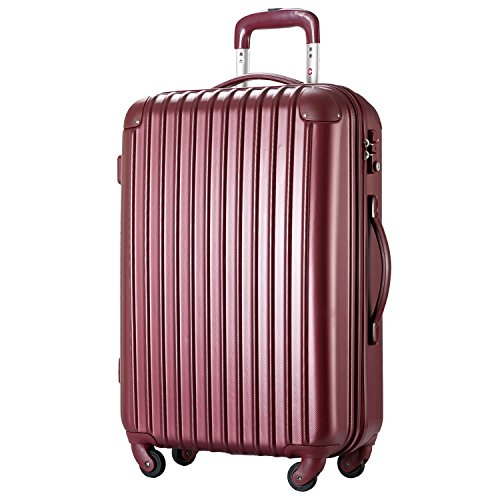 [トラベルハウス] Travelhouse スーツケース 超軽量 TSAロック搭載 【一年修理保証】 ABS 半鏡面仕上げ4輪 ファスナータイプ ss型国内・国際線機内持込可 (19色4サイズ) suitcase (ss, winered)