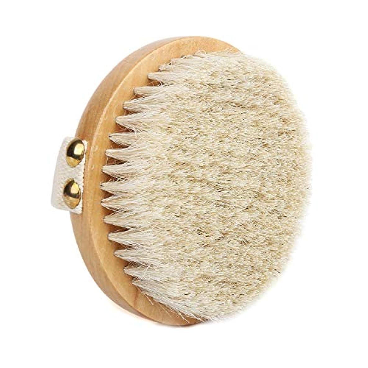 音楽家年齢織機Suyika ボディブラシ 高級な馬毛100% 角質除去 全身マッサージ バス用品 お風呂用 体洗い用品 美肌 柔らかい 天然素材(丸型)