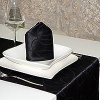 Luxuryブラックテーブルランナー–Anti Stain Proof Resistant–パック2単位の–ref。線
