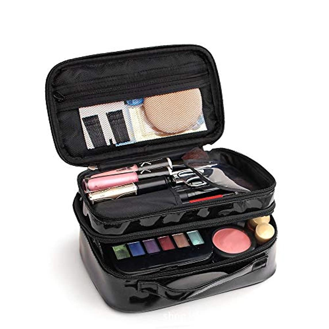 テキスト受ける司書化粧オーガナイザーバッグ ポータブルPU化粧品バッグポータブルソリッドカラー防水化粧品レディースウォッシュバッグ。 化粧品ケース