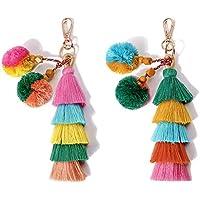 QTMY Pom Pom Tassel Bag Pendant Charm Keyring Keychain for Women Purse Handbag Decor