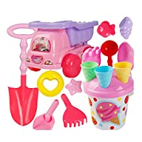 16ピースビーチの砂のおもちゃセット、バケット、シャベル、レーキ、子供たちのおもちゃを保持するのに最適#B