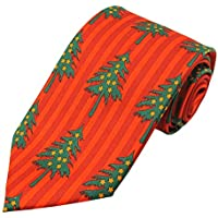 Jacob Alexander Boys' Prep Christmas Trees Vertical Stripes Red Orange Regular Length Neck Tie