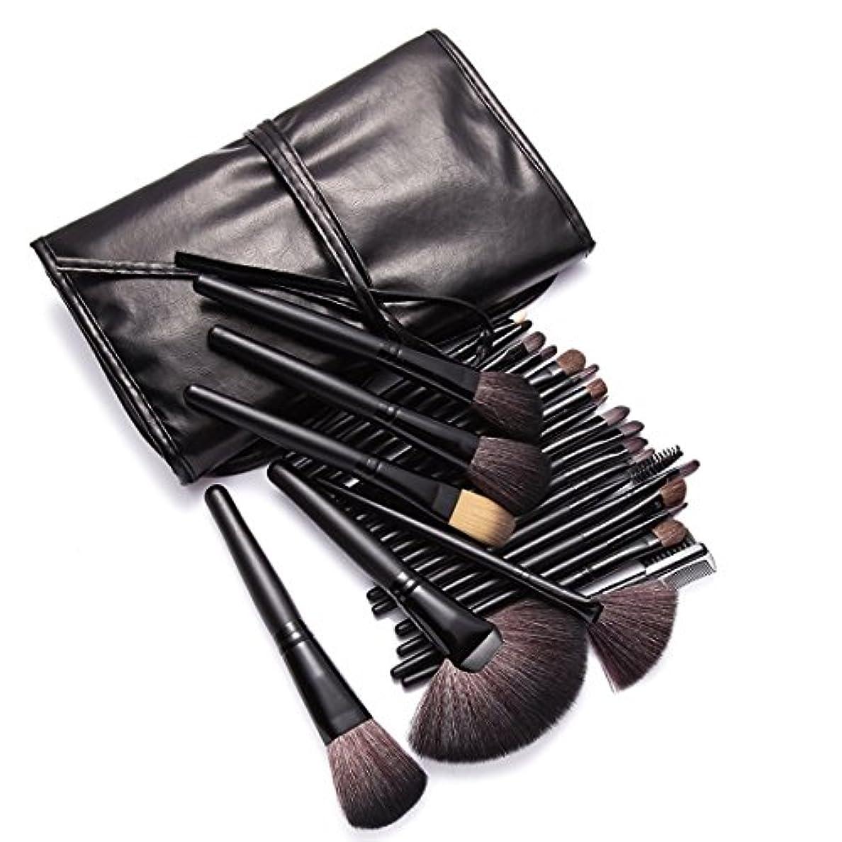 知的換気する知らせるKanCai プロのメイクアップブラシ 24本 高級 化粧筆 セット フェイス チーク アイシャドウ リップ ライナー ブロウ メイクブラシ (ブラック)