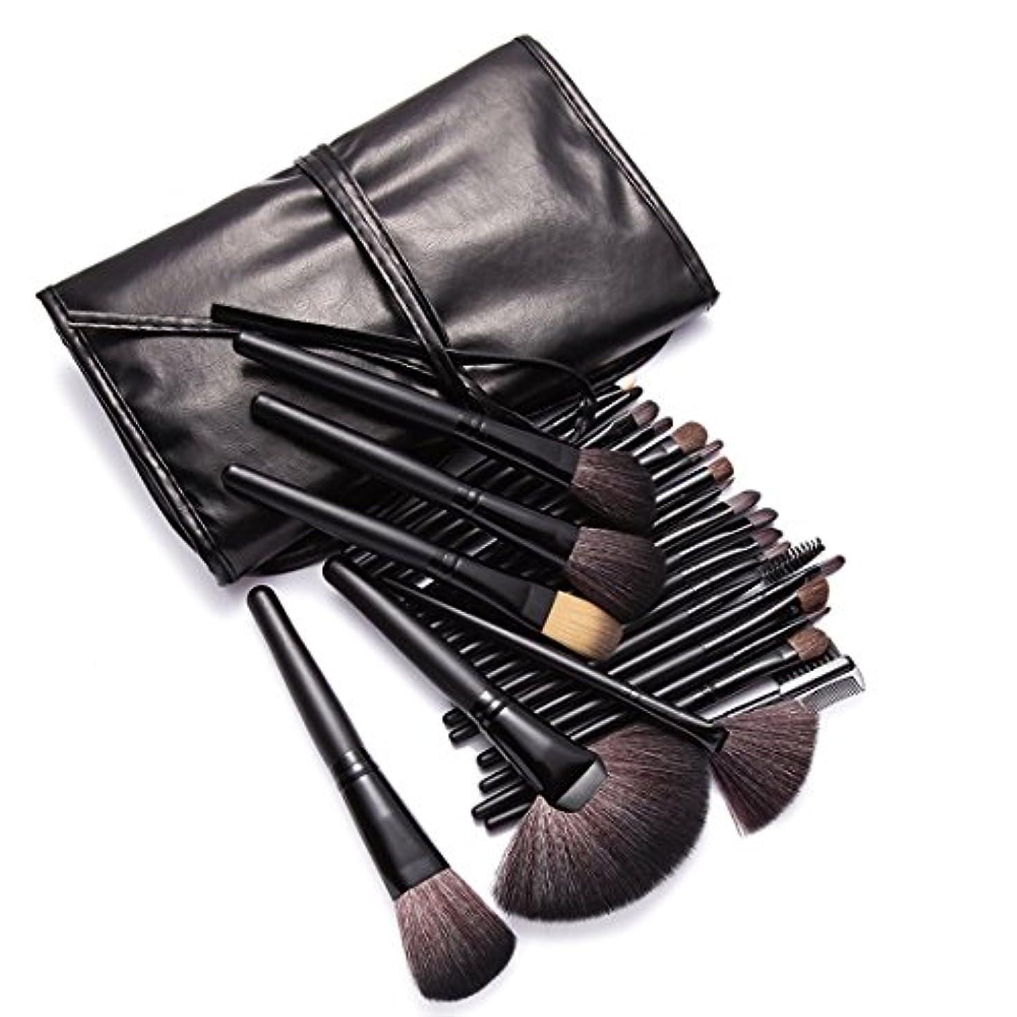 桁活性化する安心KanCai プロのメイクアップブラシ 24本 高級 化粧筆 セット フェイス チーク アイシャドウ リップ ライナー ブロウ メイクブラシ (ブラック)