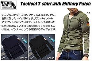(ガン フリーク) GUN FREAK タクティカル Tシャツ 長袖 ミリタリー サバゲー ドイツ パッチ Vネック ( M , ネイビー )