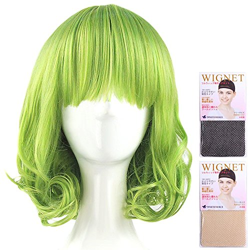 CaseEden (ケースエデン) コスプレ ウィッグ ボーカロイド GUMI グミ AKB0048 神崎鈴子 風見幽香 巻き髪 ショート グリーン 緑色 ホワイトメルチェ・ウィッグネット2個セット
