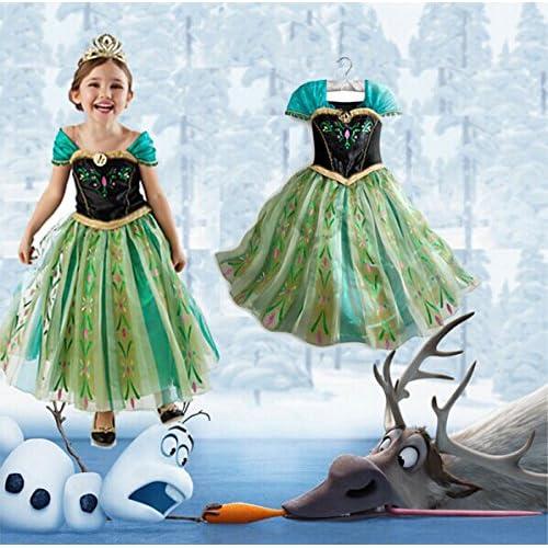 アナと雪の女王 アナ雪 アナ 風 子供用 おしゃれ な ドレス ハロウィン や クリスマス イベント パーティ の コスプレ 衣装 仮装 に (130cm, 緑)