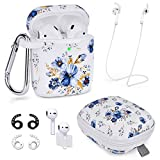 Airpods Case - Airspo 7 in 1 Airpods Accessories Set Compatible with Airpods 1 & 2 Protective Silicone Cover Floral Print Cute Case (Blue Flower 7 in 1)