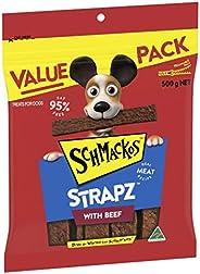 Schmackos Strapz Beef Flavour Dog Treats 2kg Value Pack, (4 x 500g bags), Puppy/Adult/Senior, Small/Medium/Lar
