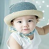 麦わら帽子 かわいい耳つき 帽子 赤ちゃん 子供幼児 キッズ 男の子 女の子 日焼け キャップ UVカット お出かけ 夏 日よけ 全6色 (light bule)