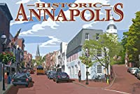 Historic Annapolis、メリーランド州Street View 16 x 24 Signed Art Print LANT-33632-709