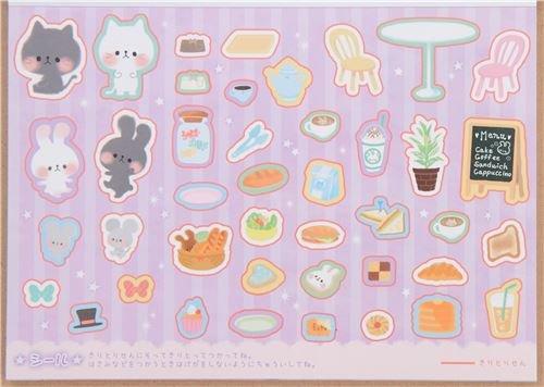 かわいい猫ウサギマウスCafe Memo and折り紙ブロックメモパッドby Kamio