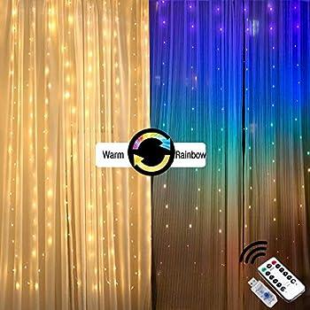 カーテンライト 電飾 led カーテン イルミネーションカーテンライト 点滅調光 色カラフルと暖かな白 レインボー カラー防水防雨 窓 光 USB リモコン付き ベッドルーム寮アパート 誕生日結婚式パーティー マーケット 店舗 イベントイースター装飾用品防水 (2mX1.5m)