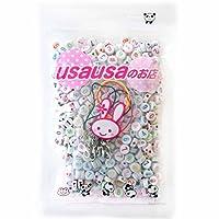 usausaのお店 【アウトレット商品】カラフル文字の丸い数字(#、ナンバー0から9まで) のビーズ 500個(7mm) と、カニカン付き携帯ストラップ用紐5本セット(B307)