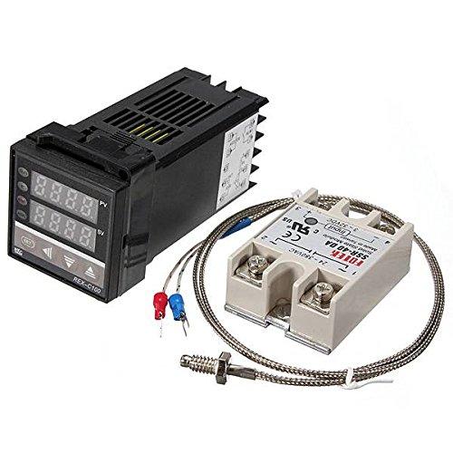 ELEGIANT 温度調節器デジタルPID温度コントローラ220V +Max.40A SSRリレー +Kタイプ 熱電対センサー アラーム付き