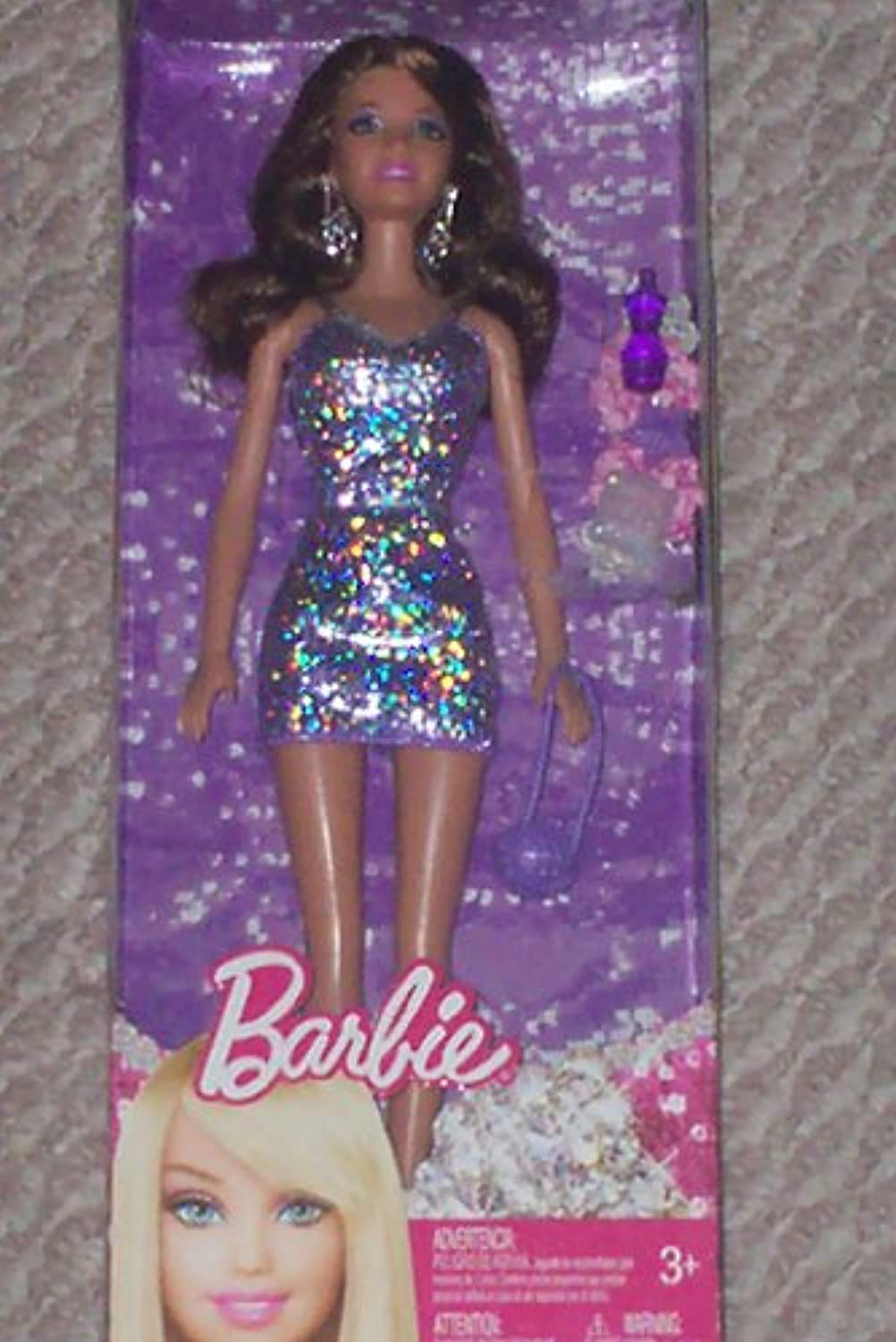 Barbie in Purple Sparkle Dress with Purse and Accessories