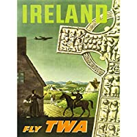 Vintage Travel Ireland Celtic Cross Rural Art Canvas Print