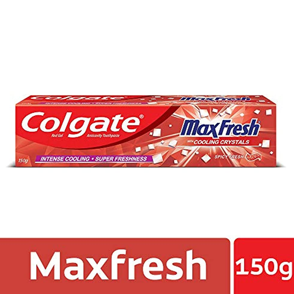 ヘア焦がすバスケットボールColgate MaxFresh Anticavity Toothpaste Gel, Spicy Fresh - 150gm