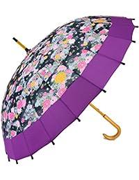 和傘 現代風 和柄 24本骨 手開き傘 55cm パープル