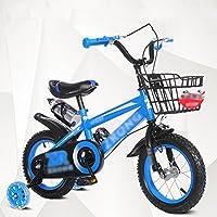 YANGFEI 子ども用自転車 キッズバイク、サイズ12インチ、14インチ、16インチ、18インチレッドブルーイエローハンドルバー高さ調節可能 2〜12歳 (色 : 青, サイズ さいず : 12インチ)