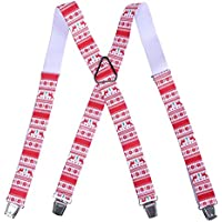 HDE Men's Big and Tall X-Back Clip Suspenders 1.5 Wide Adjustable 55 Long (Holiday Reindeer)