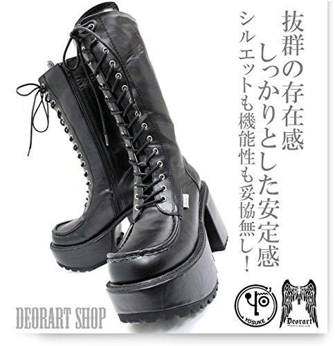 【Deorart ディオラート】メンズサイズ有★ ミドル丈 編み上げ 厚底ブーツ(YOSUKE) (ブラック,25.0)