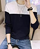(ニカ)メンズ Tシャツ コットンチェックシャツ 秋シャツ 綿 長袖 ゆる 無地 メンズネイビーT1